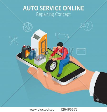 Auto repairing concept. Auto service online. Car repair service center. Tire service flat set with shop car repair mechanics. Flat 3d isometric vector illustration