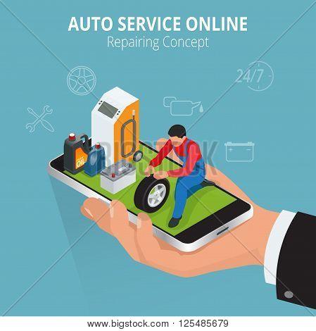 Auto repairing concept. Auto service online. Car repair service center. Tire service flat set with shop car repair mechanics. Flat 3d isometric vector illustration