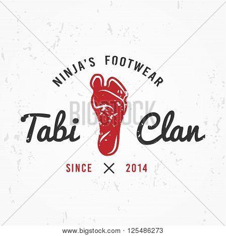 Japanese Ninja Logo. Footwear insignia design. Vintage tabi foot  badge. Martial art Team t-shirt illustration concept on grunge background.