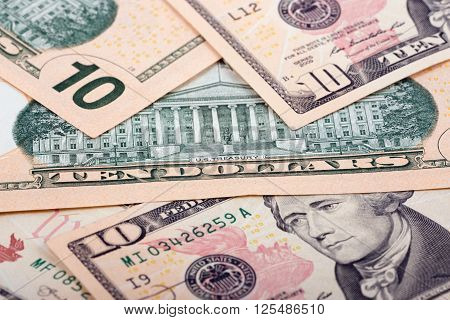 American ten dollars, a background with american money