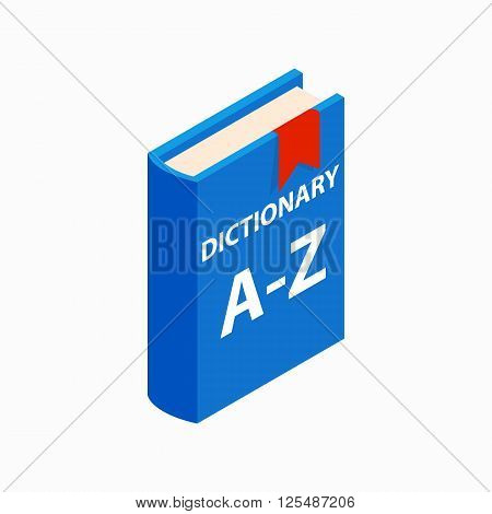 Dictionary book icon in isometric 3d style on a white background