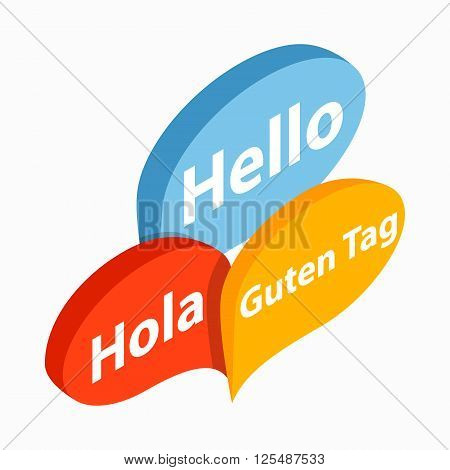 Bubble speeches with greetings inside icon in isometric 3d style on a white background