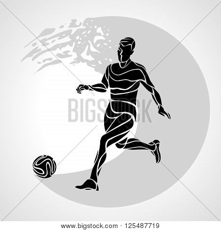 Football or Soccer player kicks the ball. The colorful vector logo sticker on black background.