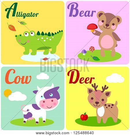 Cute zoo alphabet in vector. A b c d letters. Funny animals for ABC book. Alligator bear cow and dear.