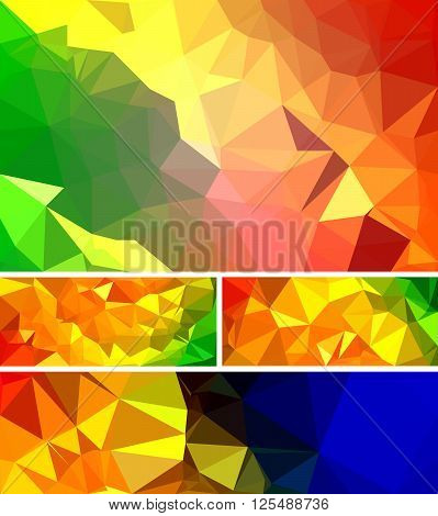 Various banner vector set with triangle pattern