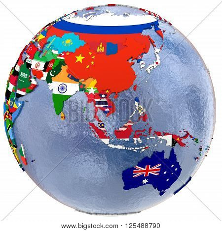 Political map of southeast Asia and Australia with each country represented by its national flag. 3D Rendering