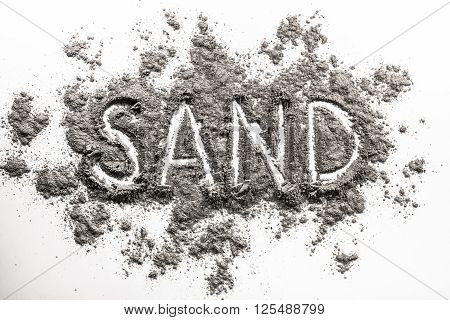 Word sand finger written in grey industry sand pile