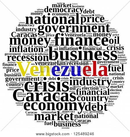 Illustration With Word Cloud On Venezuela.