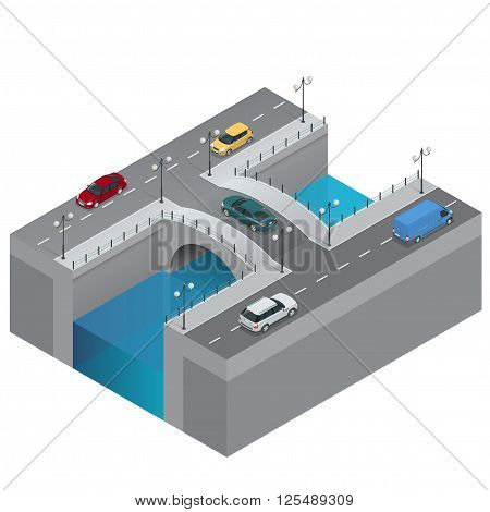 Road and bridge over the river. City traffic. Bridge flat 3d isometric vector illustration. Isometric bridge over the river. Commercial transport. Various types of load and cargo