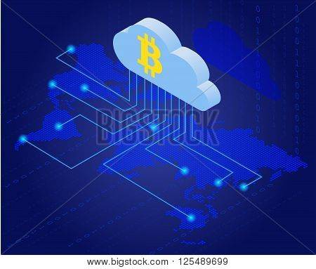 Bitcoin in cloud. Bitcoin mining isometric flat vector concept. Cloud technology. Virtual money. Flat 3d isometry isometric online mining bitcoin concept. Network concept