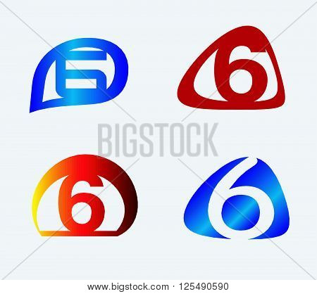 Number six 6 logo icon set. Vector illustration design