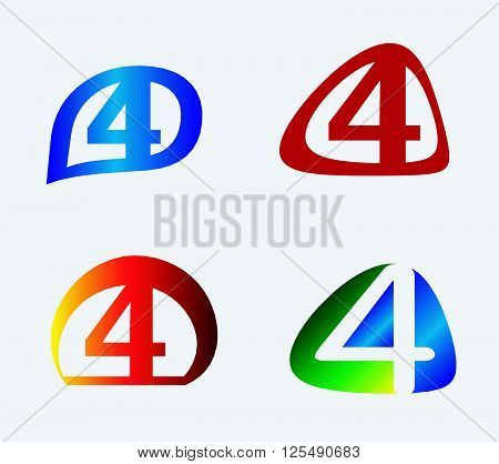 Abstract icons for number 4 logo set