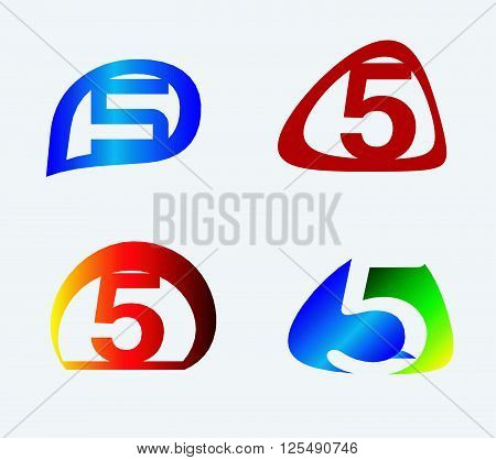 Abstract icons for number 5 logo set