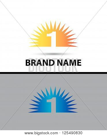 Number one 1 logo design icon abstract template