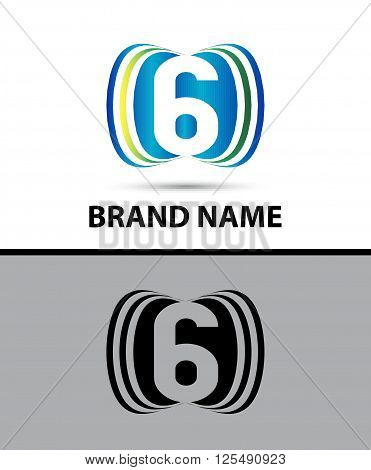 Number six 6 logo design illustration abstract template