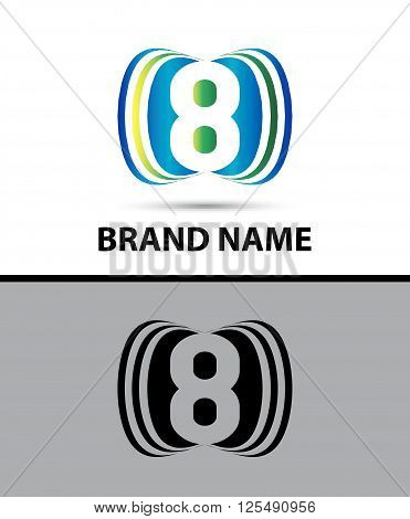 Number eight 8 logo icon design illustration abstract template