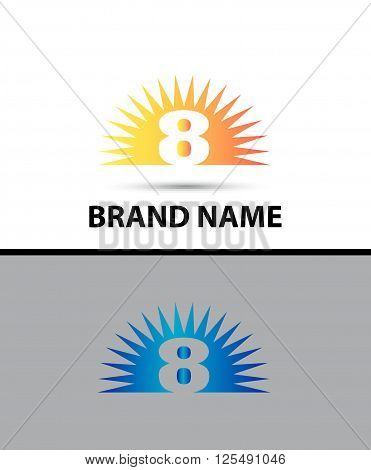 Number eight 8 logo design icon template abstract