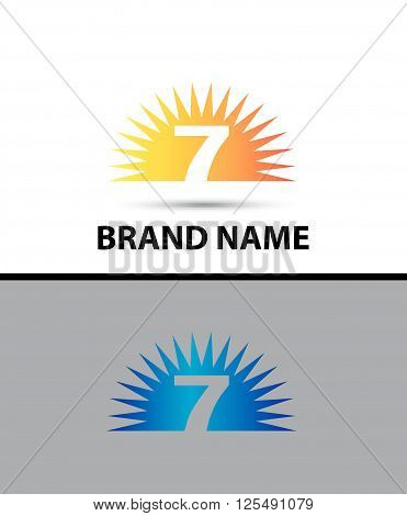 Number seven 7 logo design icon template