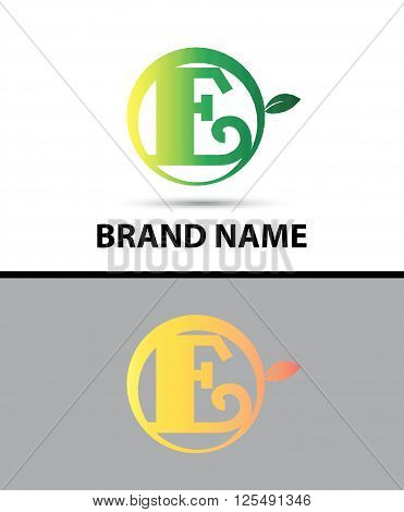 Leaf icon Logo Letter E design template abstract
