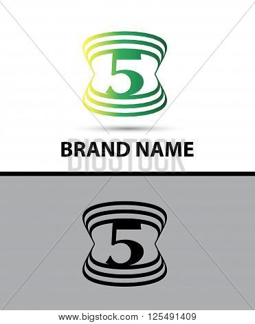 Number five logo.Logo 5 vector template abstract