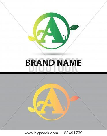 Leaf icon Logo Letter A design template abstract