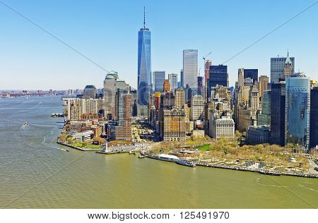 Helicopter view on Lower Manhattan in New York USA from Hudson River.