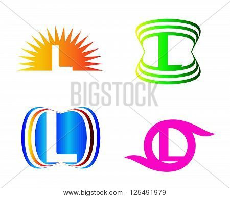 L Letters logo Set design template abstract