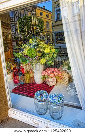 LINZ AM RHEIN GERMANY - MAY 4 2013: Shop window in the House in the City center of Linz am Rhein in Rhineland-Palatinate in Germany.