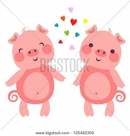 Vector illustration of Cute pigs in love with hearts