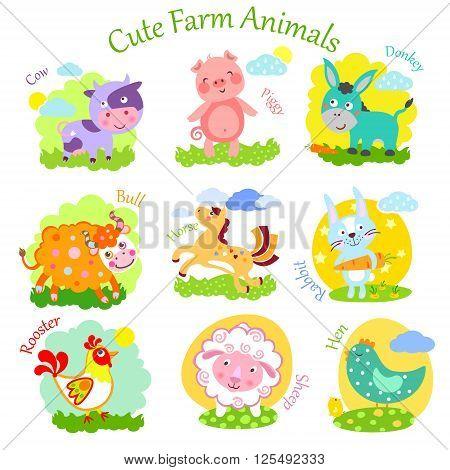 Set of cute farm animals: rabbit sheep donkey cow horse bull yak buffalo pig piggy chicken rooster