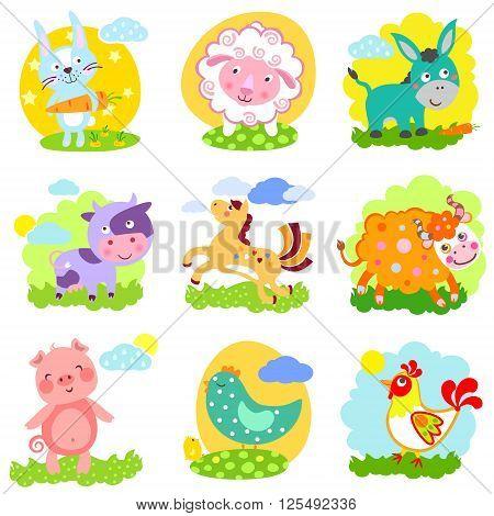 Set of farm animals: rabbit sheep donkey cow horse bull yak buffalo pig piggy chicken rooster