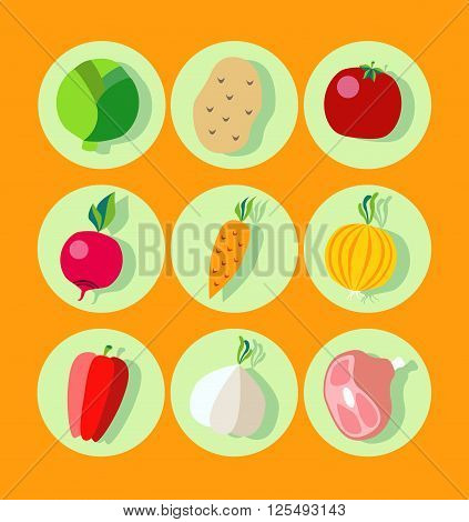 Recipes of traditional Russian cuisine. Set borsch recipe ingredients in a flat style. Vegetables and utensils icons. Poster for kitchen design restaurant cookbook cooking forums and websites.