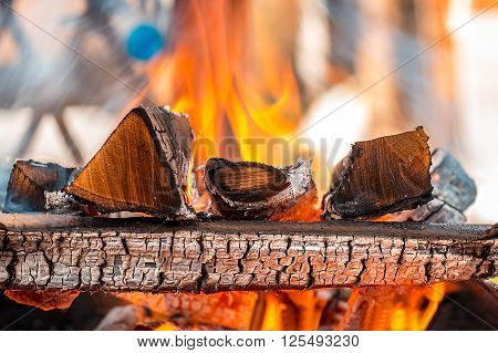 Burning wood in a brazier in the garden. Can be used as background