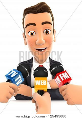 3d businessman being interviewed media isolated white background