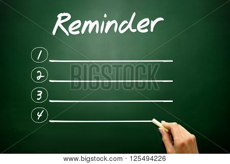 Hand Drawn Blank Reminder List Business Concept On Blackboard..