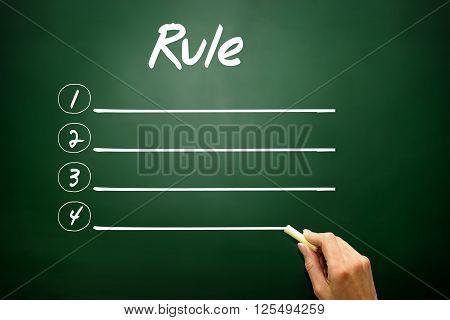 Hand Drawn Blank Rule List Concept On Blackboard..