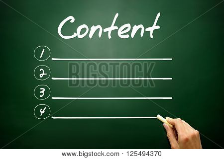 Hand drawn CONTENT blank list business concept on blackboard