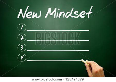 Hand Drawn New Mindset Blank List, Business Concept On Blackboard..