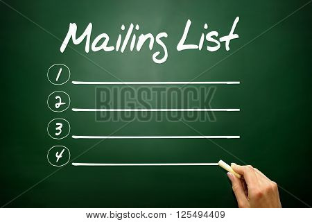 Hand Drawn Mailing List Blank List, Business Concept On Blackboard..