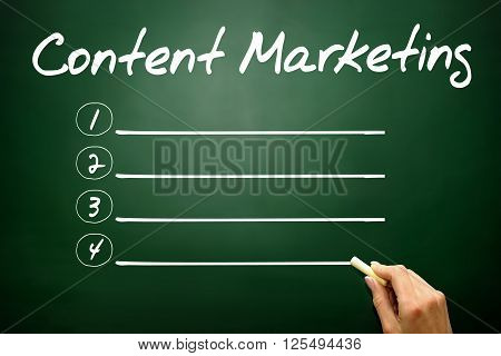 Hand drawn Content Marketing blank list business concept