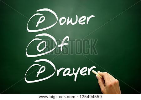 Hand Drawn Power Of Prayer (pop), Business Concept On Blackboard..