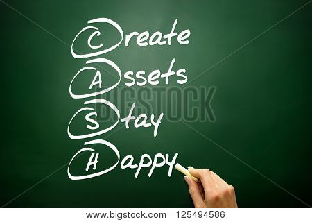 Hand Drawn Create Assets Stay Happy (cash), Business Concept On Blackboard..