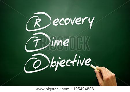 Hand Drawn Recovery Time Objective (rto), Business Concept Acronym On Blackboard..