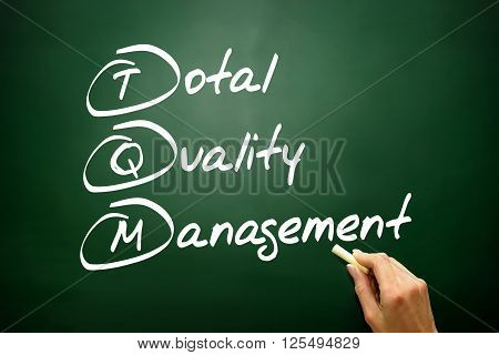 Hand Drawn Total Quality Management (tqm), Business Concept Acronym On Blackboard..