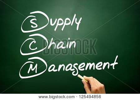 Hand Drawn Supply Chain Management (scm), Business Concept Acronym On Blackboard..