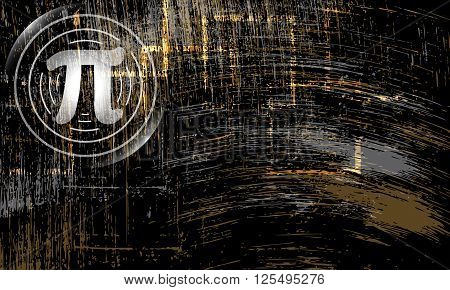 Vector abstract scratched background and pi symbol