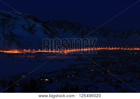 night lights of the village of Altai, Altai mountain night rural landscape ** Note: Visible grain at 100%, best at smaller sizes