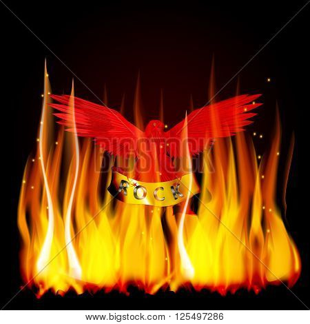 Vector illustration of a red eagle on fire with a scroll in its claws and an inscription rock metal. You can use a black background.