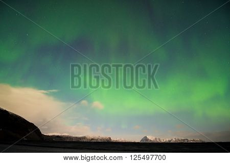 Aurora Borealis (Northern Lights) over southern Iceland