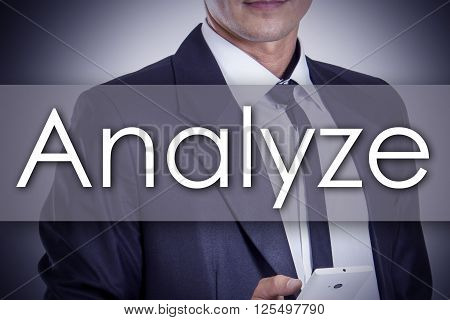 Analyze - Young Businessman With Text - Business Concept